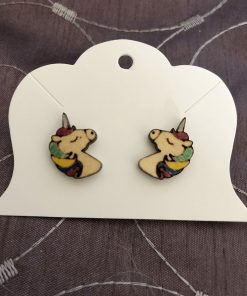 Etched Unicorn Earring Example